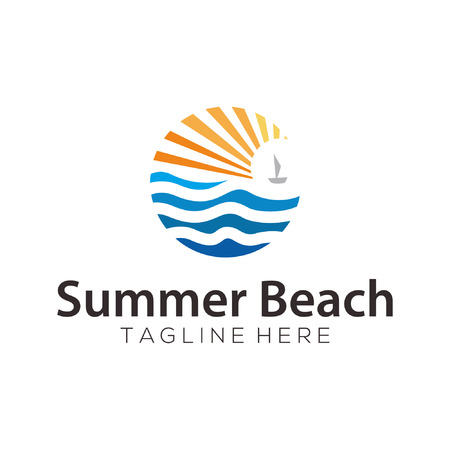 Summer beach sea logo and icon design suitable for your business, company and personal branding