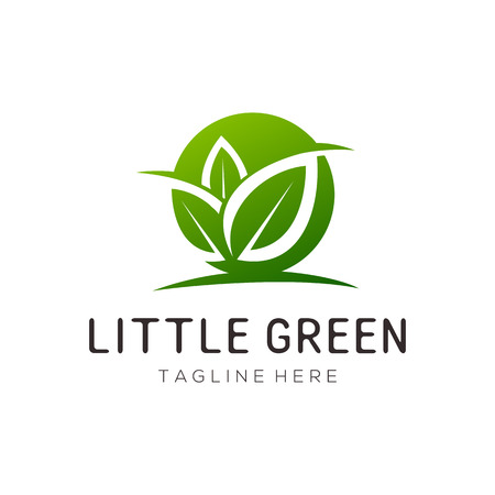 Little green leaf logo and icon design suitable for your business, company and personal branding Illusztráció