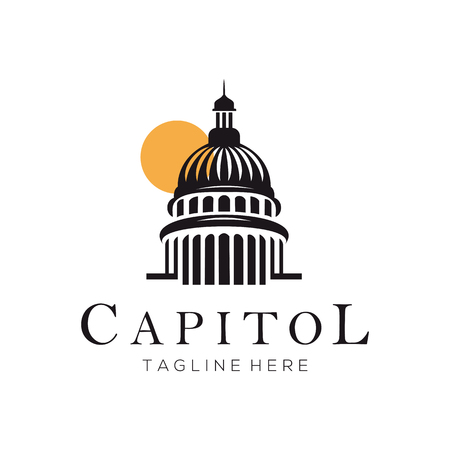 Capitol building construction logo and icon design suitable for your business, company or personal branding