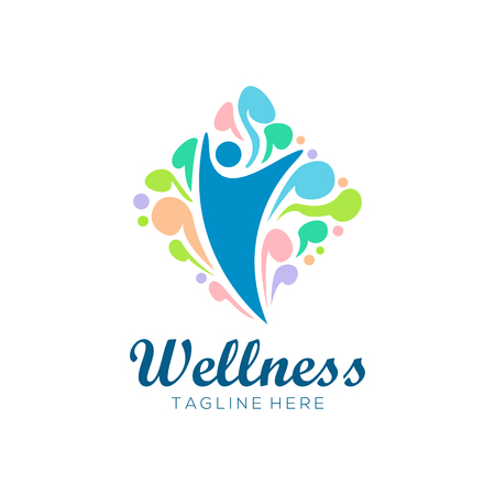 wellness health logo and icon design, suitable for your business, company and personal branding Illusztráció