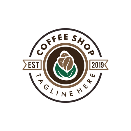 Coffee shop badge retro logo and icon design, suitable for your business company and personal branding