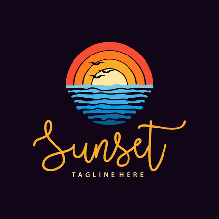Summer sunset beach sea logo and icon design suitable for your business, company and personal