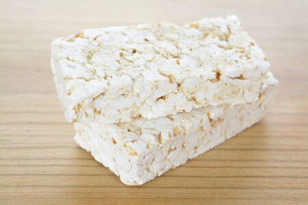 Rice craker bars on wooden table
