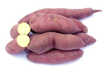 some sweet potato on white