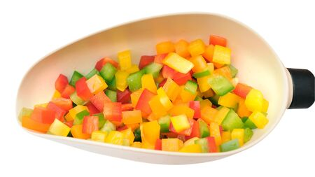 colorful chopped bell peppers on white background