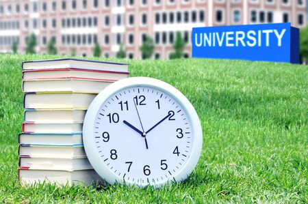 concept of higher education: book, campus, university