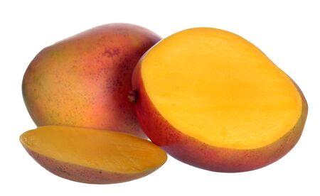 mango fruit and its section isolated on white