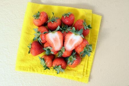 group of fresh strawberry on the table