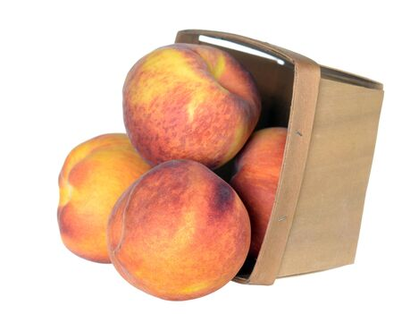some peach fruit with case on white background 写真素材
