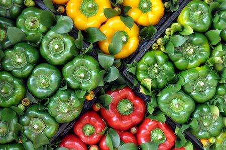 green bell peppers at market place Banco de Imagens