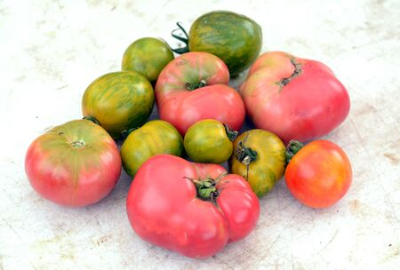 a group of heirloom tomato on the table Stok Fotoğraf