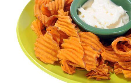 homemade potato chip with onion dip