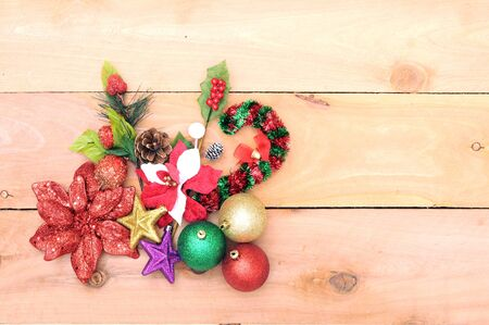 Christmas Ornament on wood background