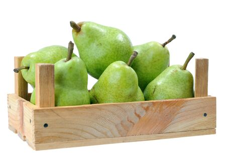pears in crate isolated on white Zdjęcie Seryjne