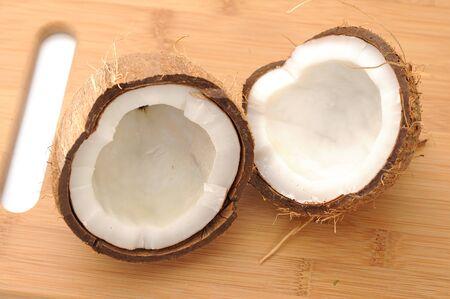 chopped coconut on cutting board