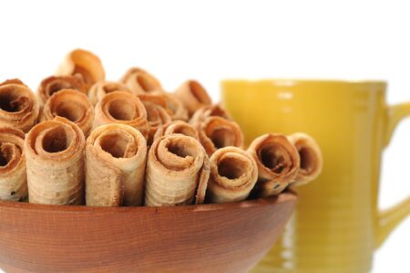 caramel waffle rolls (Asian style) on wooden bowl