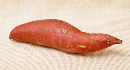 a single sweet potatoes  on burlap background