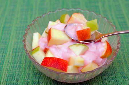 Apple fruit slice with yogurt