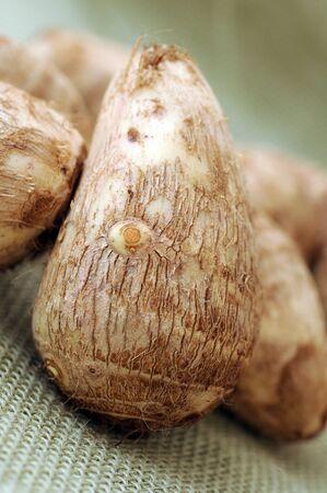 taros root on burlap background (very delicious and good taste) Stockfoto