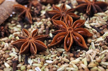 mix of spice Cinnamon And Star Anise Stock Photo