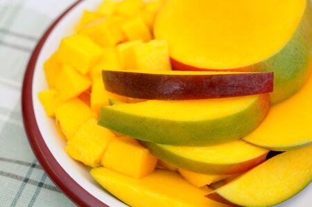 a dish of mango slice