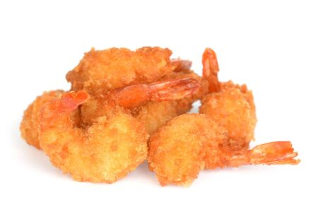 two deep fried breads shrimps on white
