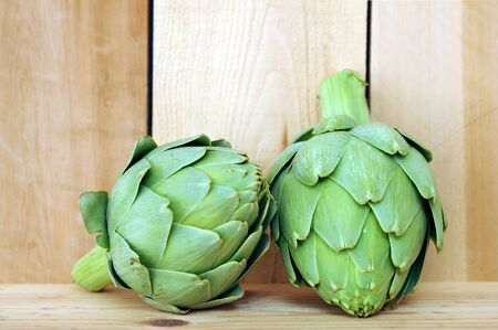 fresh artichoke on the table display at market