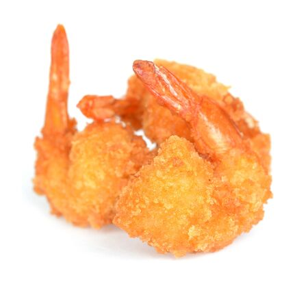 three deep fried breads shrimps on white
