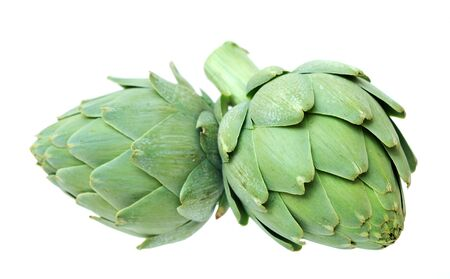two artichokes isolated on white background
