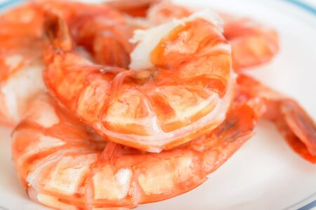 Shrimp Prawn on dish isolated on a white background