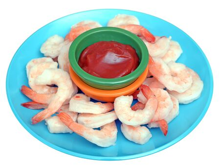 fresh boiled shrimps in dish isolated on white background Stock Photo