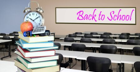education concept: book and classroom for back to school;