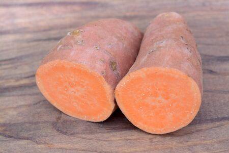 sweet potato with bucket on white background
