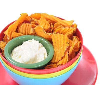 homemade potato chip with onion dip  Stock Photo