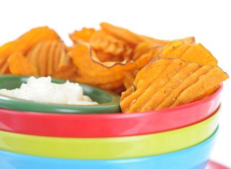 closeup homemade potato chip with onion dip Stock Photo