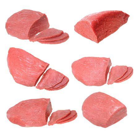 Augen rundes Rindfleisch isoliert auf weißem Hintergrund