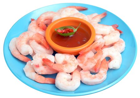 fresh boiled shrimps in dish isolated on white background Zdjęcie Seryjne