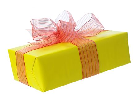 yellow gift box isolated on white