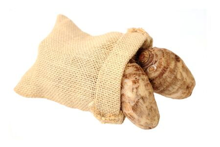 taro roots in burlap bag (very delicious and good taste)