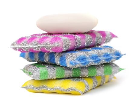 4 pack scouring pads and soap on white