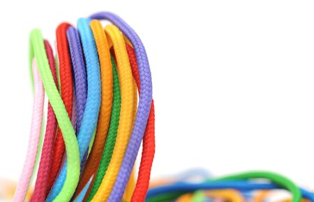 multicolor linen rope on white 写真素材