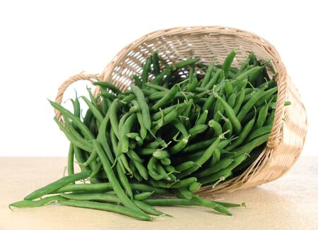 green beans from bamboo basket