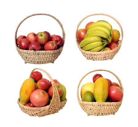Gala apple in the basket isolated on white Stockfoto