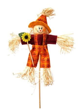 a male scarecrow isolated on white Stock Photo