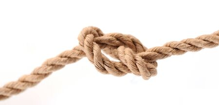 Reef Knot by paper rope isolated on white Standard-Bild