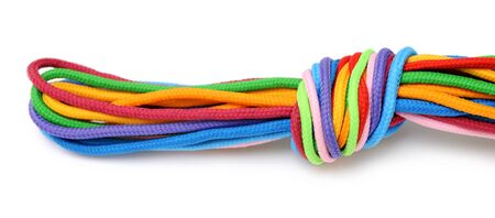 multicolor linen rope with knot isolated on white