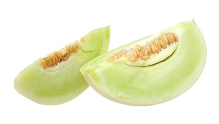 green melon on white background