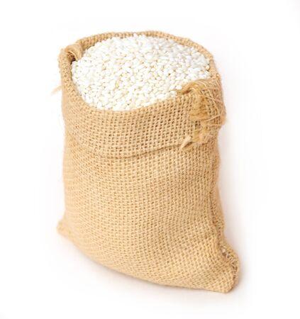 sweet rice in  burlap bag