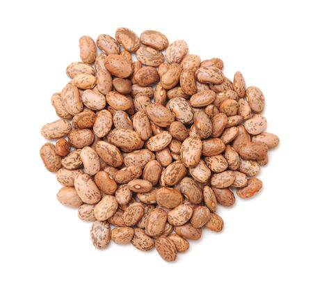 a group of pinto beans on white background
