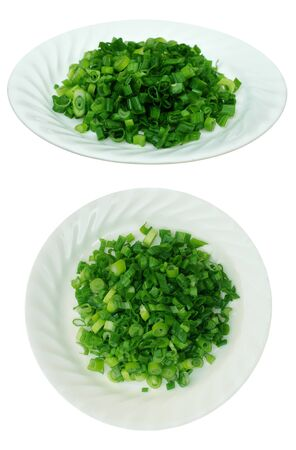 two views of cutting onion on dish  Banco de Imagens
